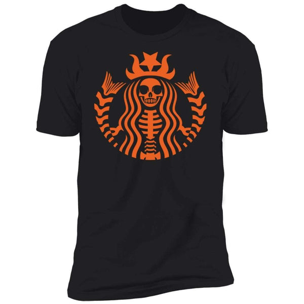 Halloween Skeleton Orange Premium Tee T-Shirts CustomCat Black X-Small