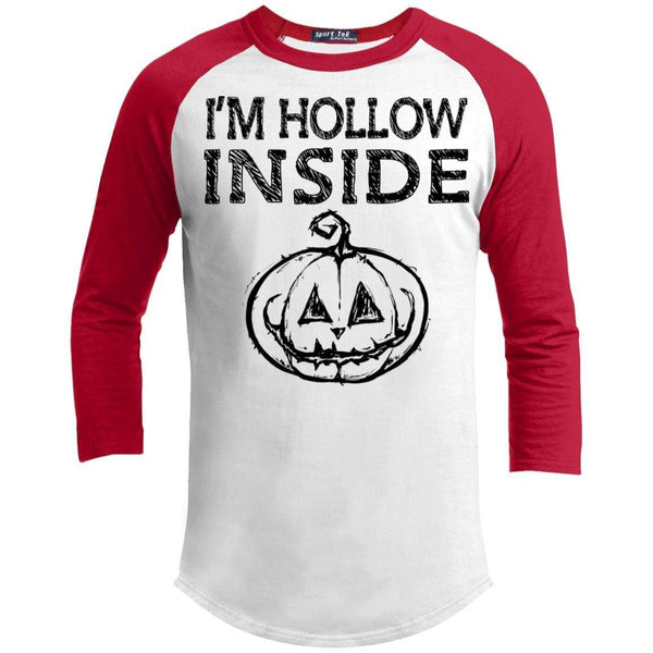 I'm Hollow Inside Raglan T-Shirts CustomCat White/Red X-Small