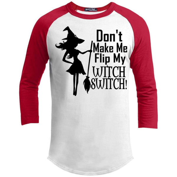 Flip My Witch Switch Raglan T-Shirts CustomCat White/Red X-Small