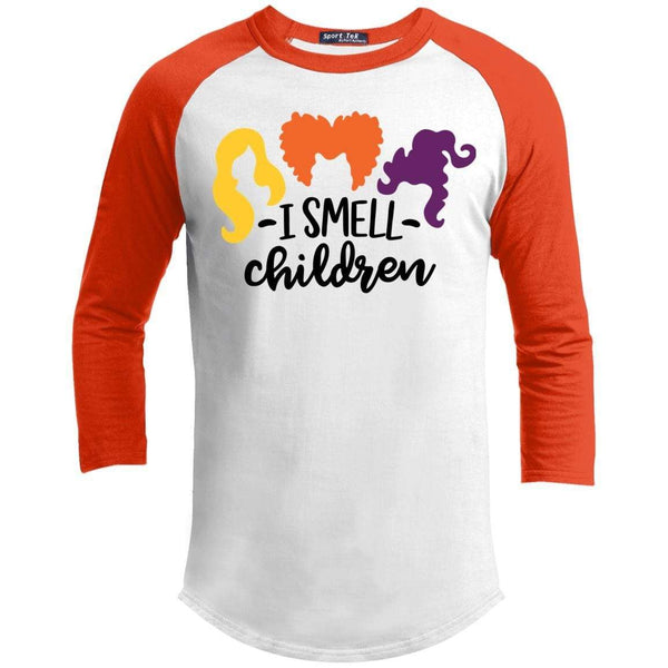 I Smell Children Raglan T-Shirts CustomCat White/Deep Orange X-Small