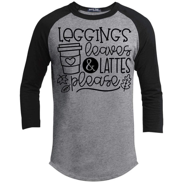 Leggings Leaves & Lattes Please T-Shirts CustomCat Heather Grey/Black X-Small