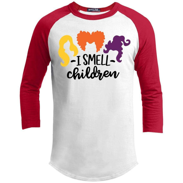 I Smell Children Raglan T-Shirts CustomCat White/Red X-Small