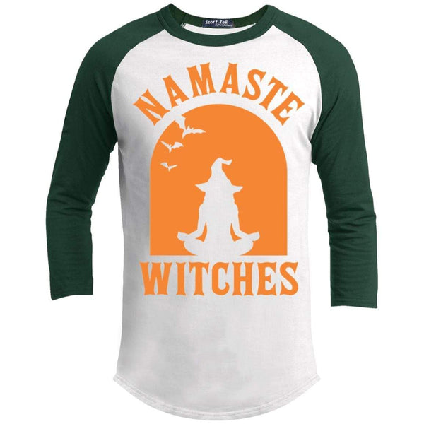 Namaste Witches Raglan T-Shirts CustomCat White/Forest X-Small