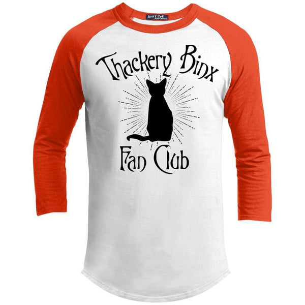 Thackery Binks Raglan T-Shirts CustomCat White/Deep Orange X-Small