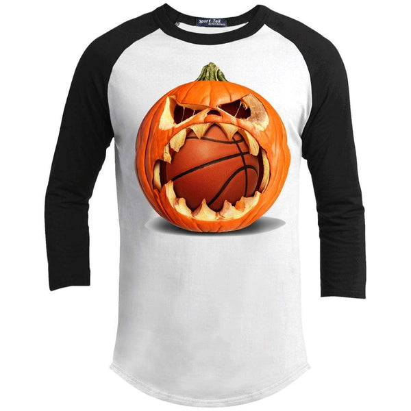 Basketball Pumpkin Raglan T-Shirts CustomCat White/Black X-Small