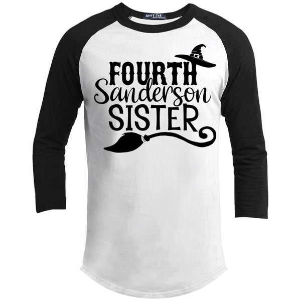 4th Sanderson Sister Raglan T-Shirts CustomCat White/Black X-Small