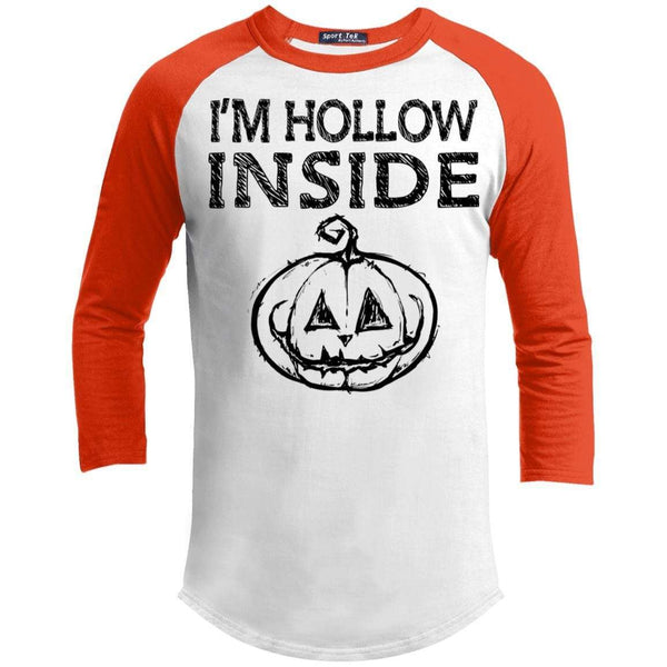 I'm Hollow Inside Raglan T-Shirts CustomCat White/Deep Orange X-Small