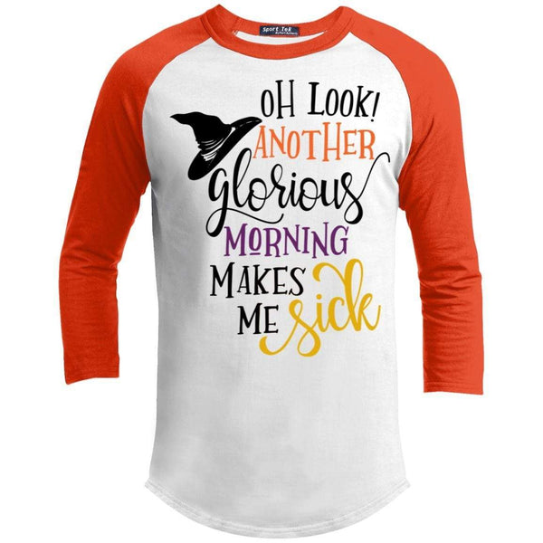 Another Morning Makes Me Sick Raglan T-Shirts CustomCat White/Deep Orange X-Small