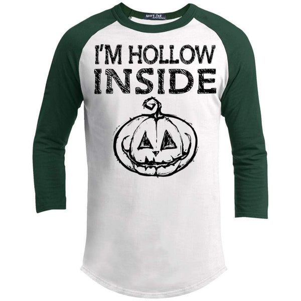 I'm Hollow Inside Raglan T-Shirts CustomCat White/Forest X-Small
