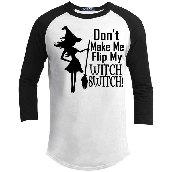 Flip My Witch Switch Raglan T-Shirts CustomCat White/Black X-Small