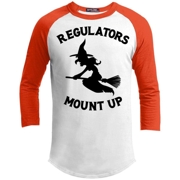 Regulators Mount up Raglan T-Shirts CustomCat White/Deep Orange X-Small