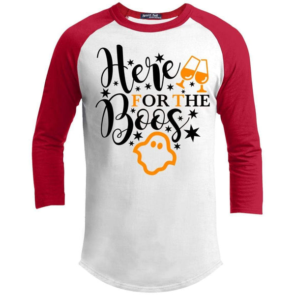 Here For The Boos Raglan T-Shirts CustomCat White/Red X-Small