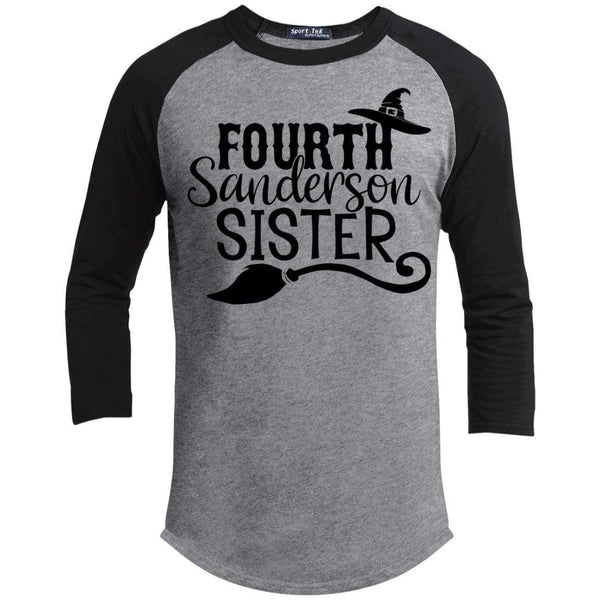4th Sanderson Sister Raglan T-Shirts CustomCat Heather Grey/Black X-Small