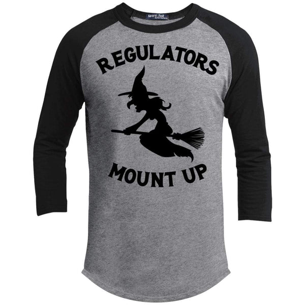 Regulators Mount up Raglan T-Shirts CustomCat Heather Grey/Black X-Small
