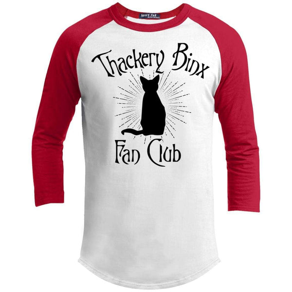 Thackery Binks Raglan T-Shirts CustomCat White/Red X-Small