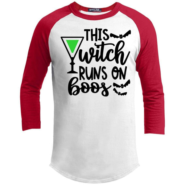 This Witch Runs On Boos Raglan T-Shirts CustomCat White/Red X-Small