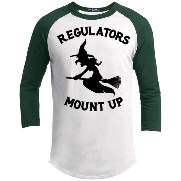 Regulators Mount up Raglan T-Shirts CustomCat White/Forest X-Small