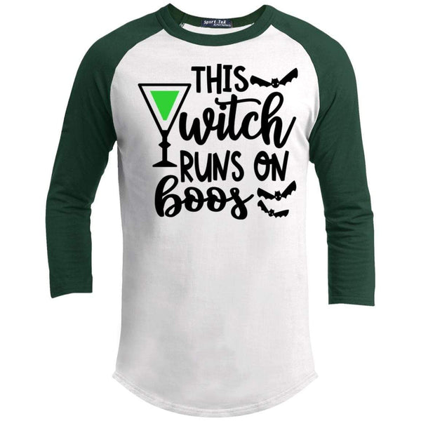 This Witch Runs On Boos Raglan T-Shirts CustomCat White/Forest X-Small
