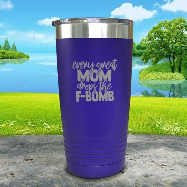 Every Great Mom Drops The F Bomb Engraved Tumbler Tumbler ZLAZER 20oz Tumbler Royal Purple