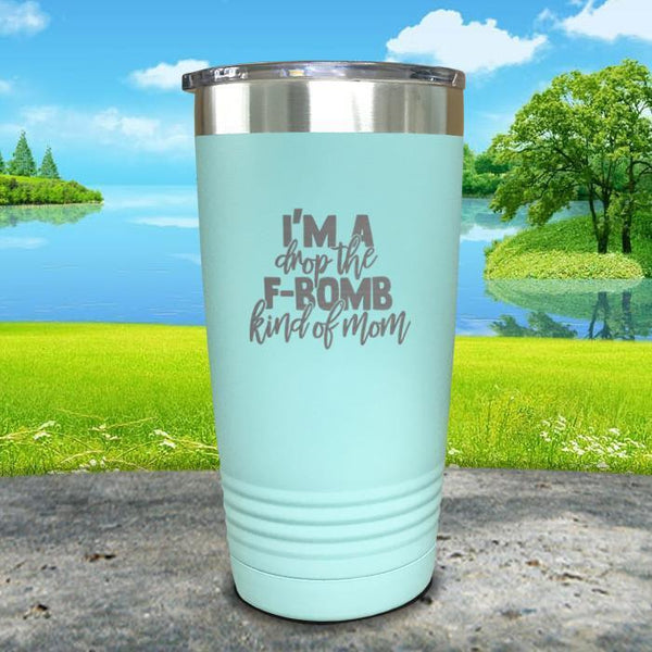 F Bomb Kind Of Mom Engraved Tumbler Tumbler ZLAZER 20oz Tumbler Mint