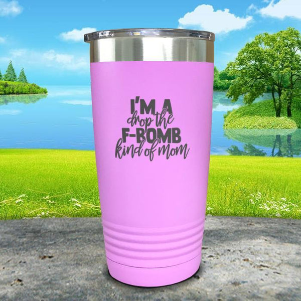 F Bomb Kind Of Mom Engraved Tumbler Tumbler ZLAZER 20oz Tumbler Lavender