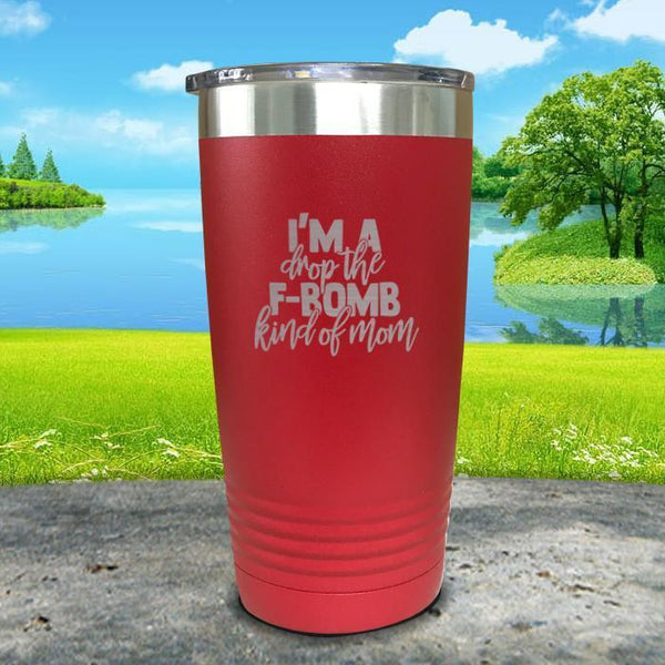 F Bomb Kind Of Mom Engraved Tumbler Tumbler ZLAZER 20oz Tumbler Red