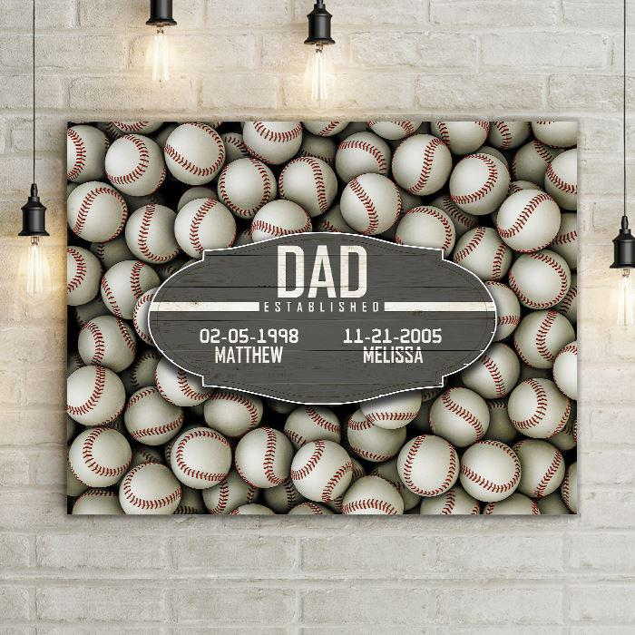 Baseball Dad Established Date Canvas Print Wall Hanging.  Beautiful Home Decor, Office Decoration, or Man Cave Sign.  Best Father's Day Gift Idea for #1 Dad. Carved wood Sign for sports enthusiast on a background of sports-themed wall art.