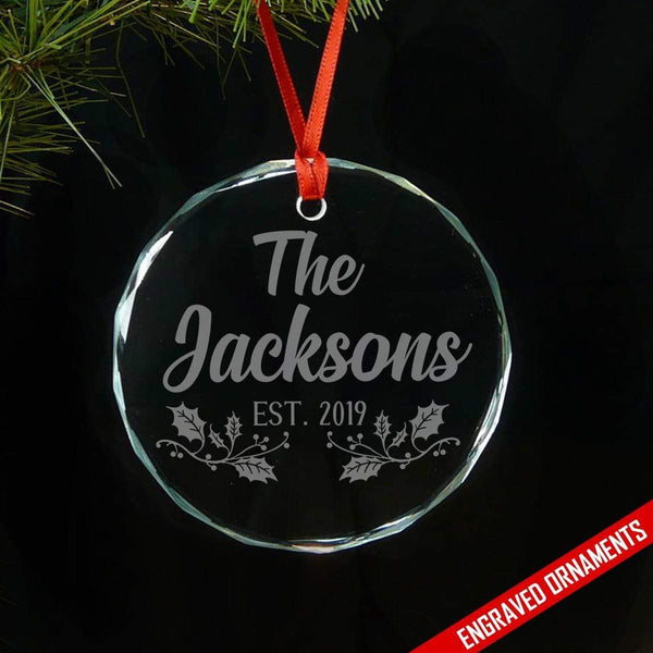Family Established PERSONALIZED Engraved Glass Ornament ZLAZER Circle Ornament