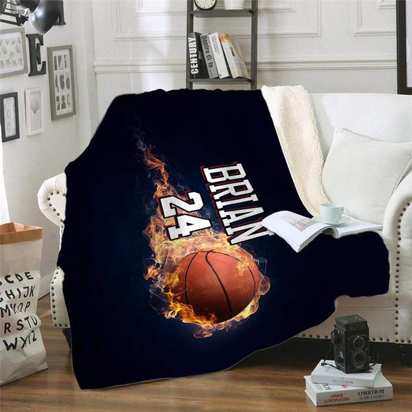Fire Basketball Personalized Sherpa Blanket