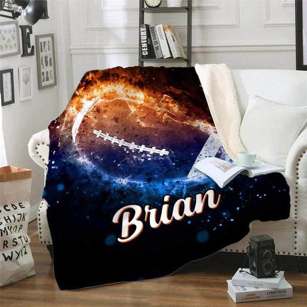 Fire Football Personalized Sherpa Blanket