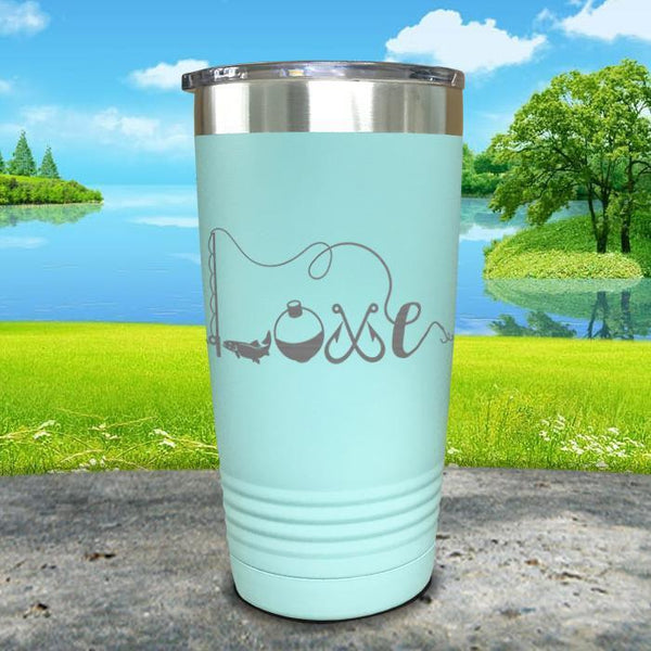 Fishing Love Engraved Tumbler Tumbler ZLAZER 20oz Tumbler Mint