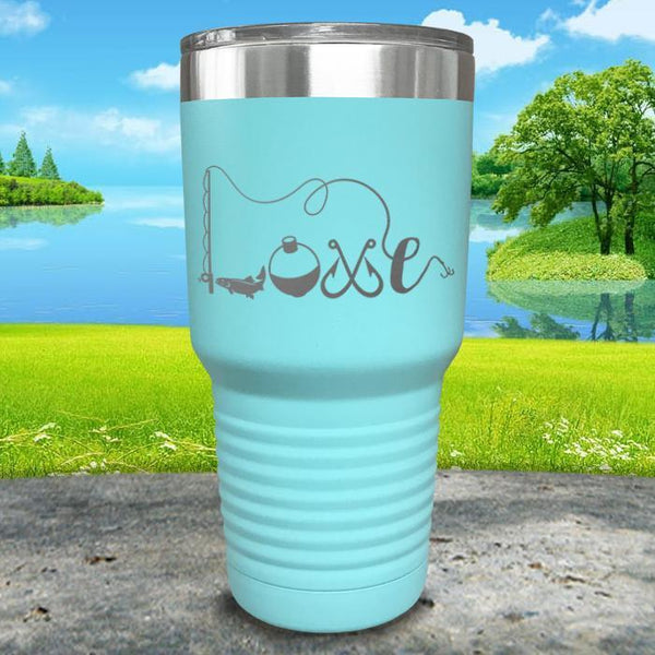 Fishing Love Engraved Tumbler Tumbler ZLAZER 30oz Tumbler Mint