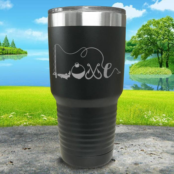 Fishing Love Engraved Tumbler Tumbler ZLAZER 30oz Tumbler Black