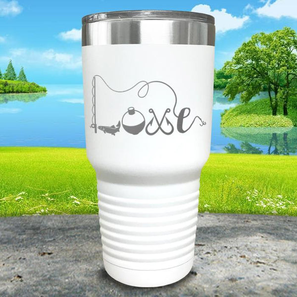 Fishing Love Engraved Tumbler Tumbler ZLAZER 30oz Tumbler White