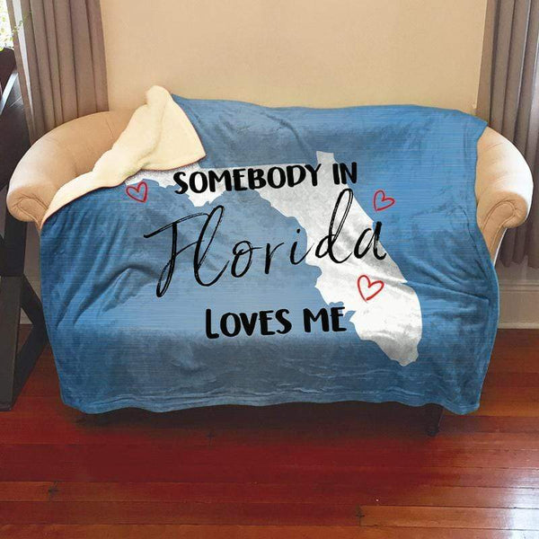 Somebody Loves Me (CUSTOM) Sherpa Blanket Blankets CustomCat Florida