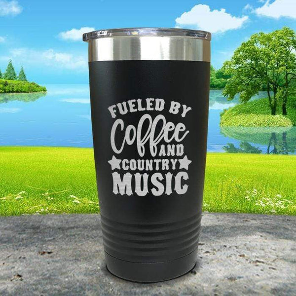 Fueled by Coffee and Country Music Engraved Tumbler Tumbler ZLAZER 20oz Tumbler Black