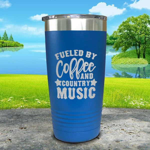 Fueled by Coffee and Country Music Engraved Tumbler Tumbler ZLAZER 20oz Tumbler Blue