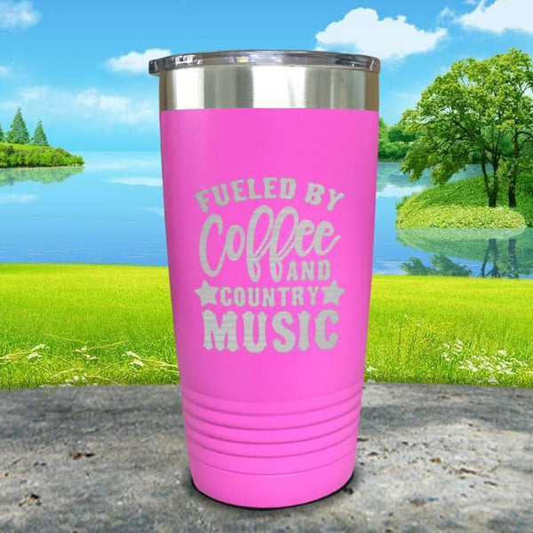 Fueled by Coffee and Country Music Engraved Tumbler Tumbler ZLAZER 20oz Tumbler Pink