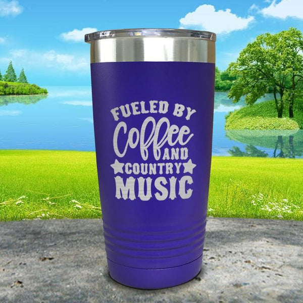 Fueled by Coffee and Country Music Engraved Tumbler Tumbler ZLAZER 20oz Tumbler Royal Purple