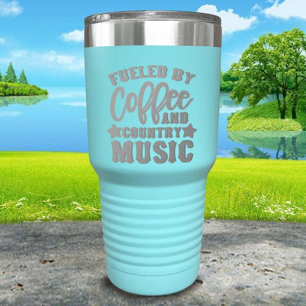Fueled by Coffee and Country Music Engraved Tumbler Tumbler ZLAZER 30oz Tumbler Mint