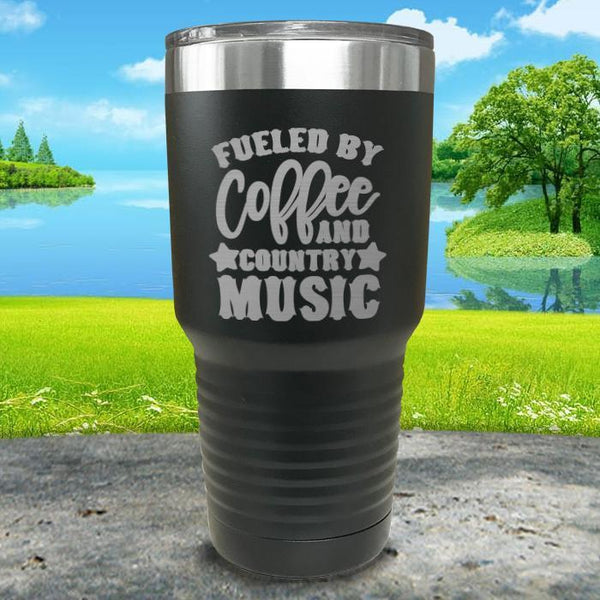 Fueled by Coffee and Country Music Engraved Tumbler Tumbler ZLAZER 30oz Tumbler Black