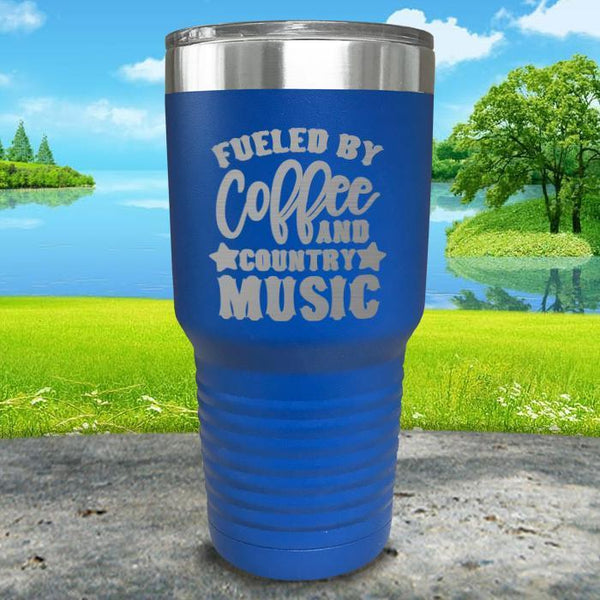 Fueled by Coffee and Country Music Engraved Tumbler Tumbler ZLAZER 30oz Tumbler Blue