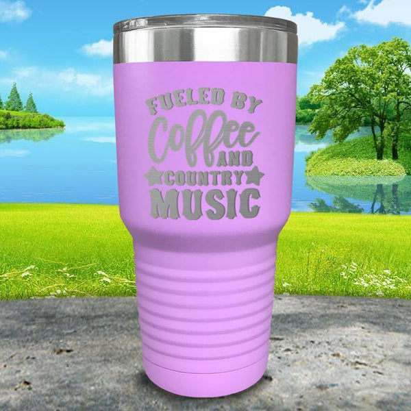 Fueled by Coffee and Country Music Engraved Tumbler Tumbler ZLAZER 30oz Tumbler Lavender