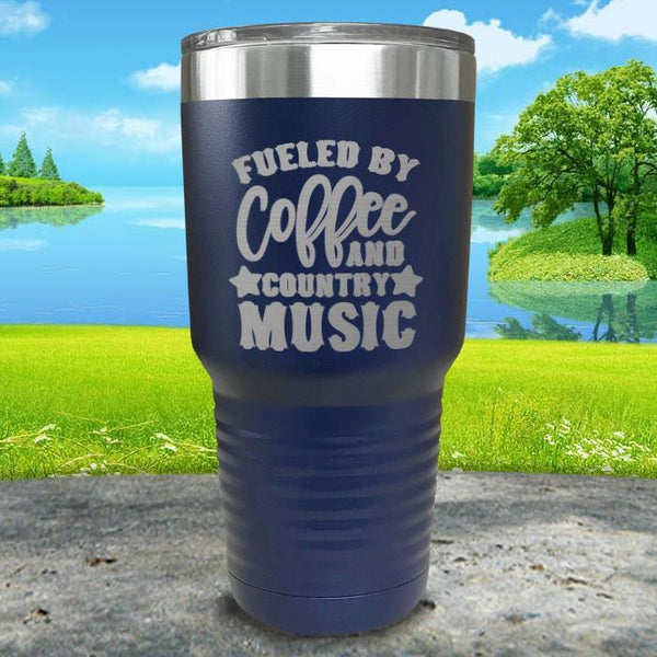 Fueled by Coffee and Country Music Engraved Tumbler Tumbler ZLAZER 30oz Tumbler Navy