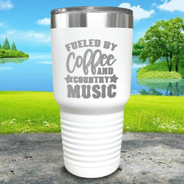 Fueled by Coffee and Country Music Engraved Tumbler Tumbler ZLAZER 30oz Tumbler White