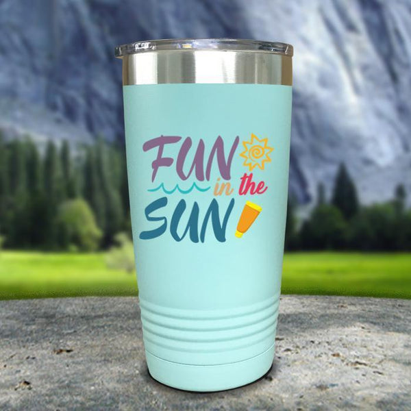 Fun In The Sun Color Printed Tumblers Tumbler Nocturnal Coatings 20oz Tumbler Mint