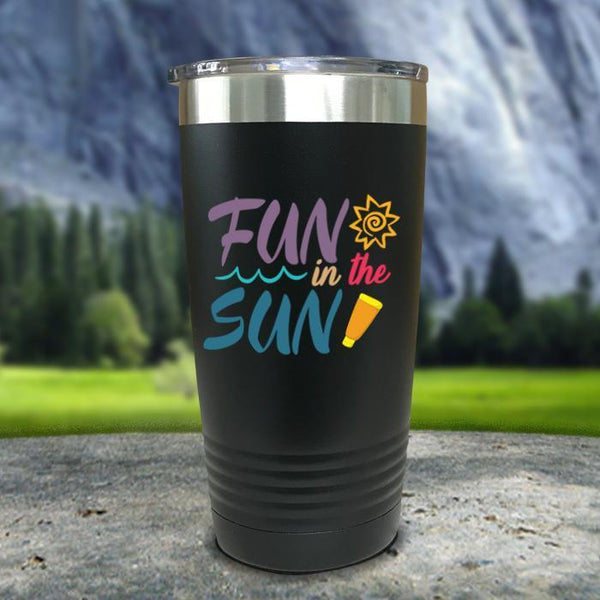 Fun In The Sun Color Printed Tumblers Tumbler Nocturnal Coatings 20oz Tumbler Black