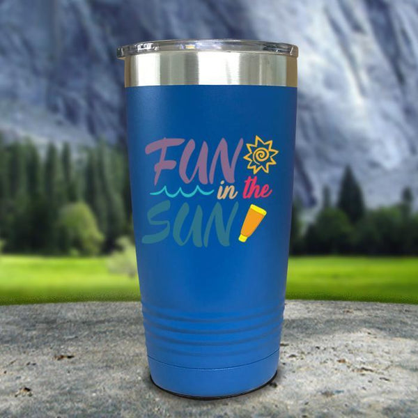 Fun In The Sun Color Printed Tumblers Tumbler Nocturnal Coatings 20oz Tumbler Blue