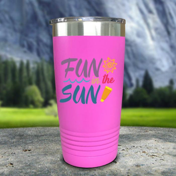 Fun In The Sun Color Printed Tumblers Tumbler Nocturnal Coatings 20oz Tumbler Pink