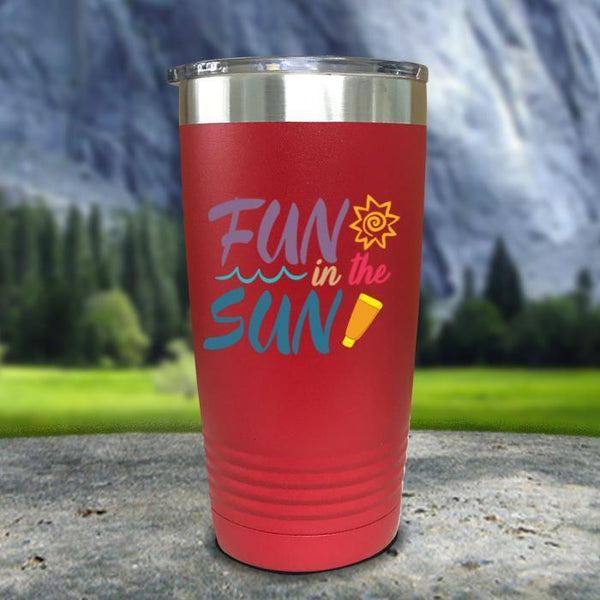 Fun In The Sun Color Printed Tumblers Tumbler Nocturnal Coatings 20oz Tumbler Red